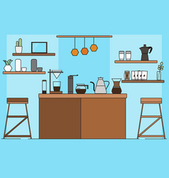 Design coffee bar space in blue room vector