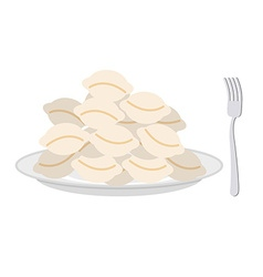 Dumplings in a plate and fork on a white vector image