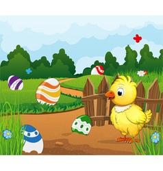 Easter scene background vector image vector image