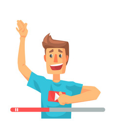 Emotional video blogger man speaking colorful vector