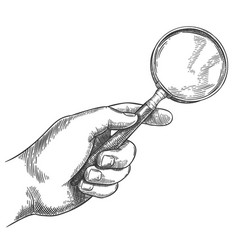 engraved hand holding magnifying glass retro hand vector image