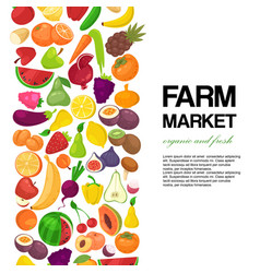 farm market with fruit and vegetables banner vector image