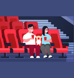 Fat couple watching movie sitting in cinema vector