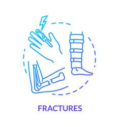 Fracture bone fragility concept icon vector