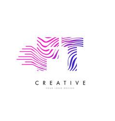 Ft f t zebra lines letter logo design with vector