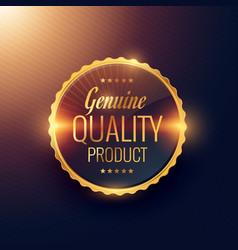 Genuine quality product premium golden label vector