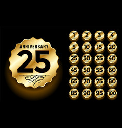 Golden anniversary label and emblems logotype set vector