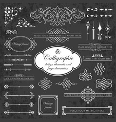 graphic design elements on chalkboard vector image