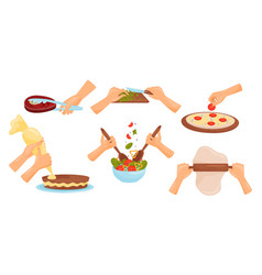 Hands holding kitchen items and cooking meal vector