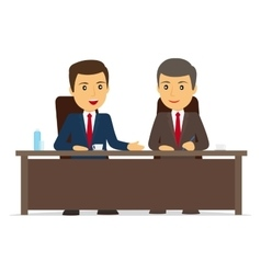 Happy businessman signs contract vector