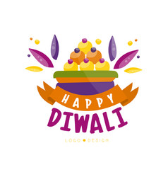 happy diwali colorful logo design hindu festival vector image
