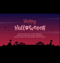 Happy halloween background on the grave vector
