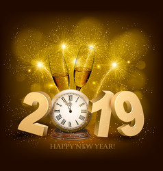 Happy new year background with 2019 a clock and vector