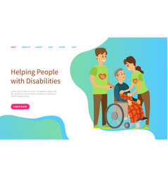 helping people with disabilities volunteering vector image