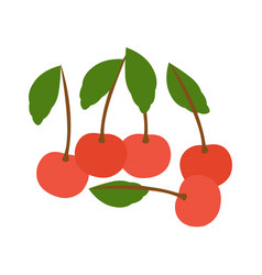 image of five fresh fruit cherry icons flat design vector image