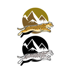 Jumping leopard and mountain background vector