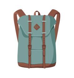 Khaki backpack front view travel bag vector