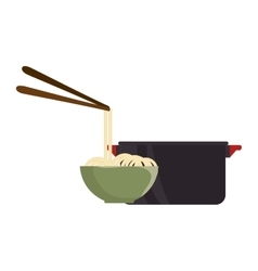 kitchen pot and hot food bowl vector image