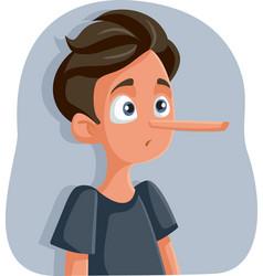 Liar teenage boy with long nose cartoon vector