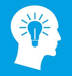 light bulb inside head icon white vector image