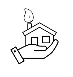 line hand with house with ecological leaf to vector image