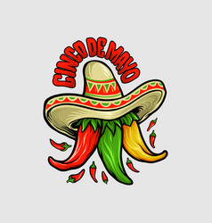 logo restaurant cinco de mayo mexican chili mascot vector image
