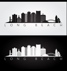 Long beach usa skyline and landmarks silhouette vector
