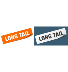 Long tail paper peeler sign set long tail sticker vector