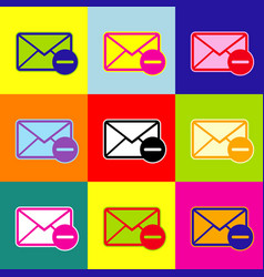mail sign pop-art style vector image