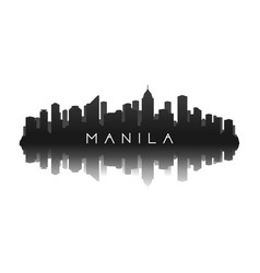 manila skyline silhouette in black with reflection vector image