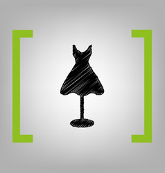 Mannequin with dress sign black scribble vector