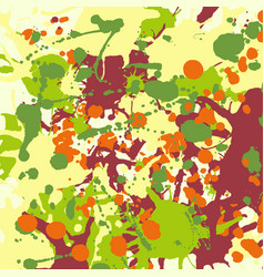 Maroon orange yellow green ink splashes vector