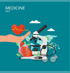 Medicine help flat style design vector
