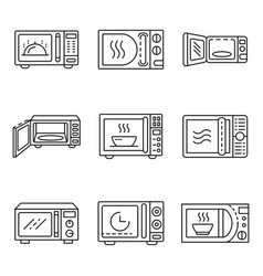 microwave icons set outline style vector image
