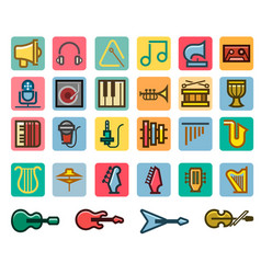 Music line fancy icon set vector