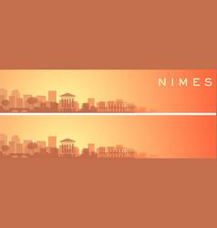 Nimes beautiful skyline scenery banner vector