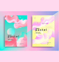 pastel gradient covers design with fluid shapes vector image
