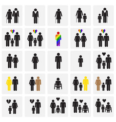 People gender race orientation age set on squares vector