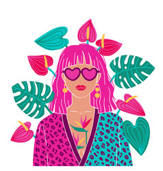 Portrait a pink hair woman in urban jungle vector