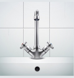 Realistic sink faucet composition vector