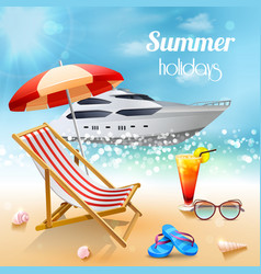 Realistic summer holidays composition vector