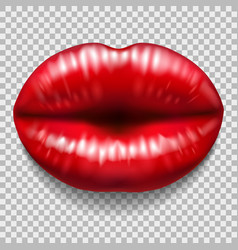red lips isolated on transparent background vector image