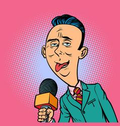 ridiculous funny weird reporter correspondent vector image