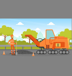 Road construction and repair construction worker vector