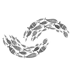 school fish stylized group stylized fishes vector image