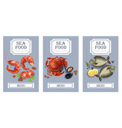 Sea food cards realistic layout template vector