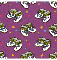 Seamless pattern with cute baby booties vector