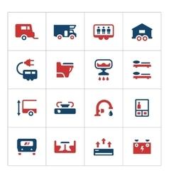 set color icons camper caravan trailer vector image