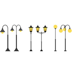 Set flat streetlights city lamps are isolated on vector