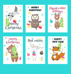 Set of christmas cards with cute animals vector